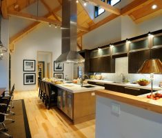 Adorable Big Kitchen  for Dream House Design with Wooden Floorr and Roofing