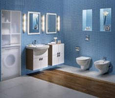 Blue Bathroom Ideas with Twin Mirror and Hanging Storage