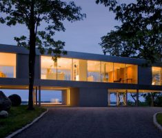 Dream House Design with T Shape Architecture with Glass Wall