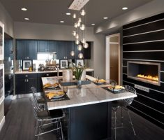 Interesting Modern Small Kitchen for Outstanding Dream House Design with Fireplace