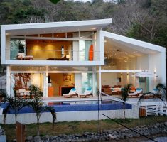 Small Dream House Design with Sloping Roof and Small Pool