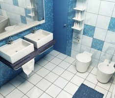 White and Blue Bathroom Ideas with White Tiles