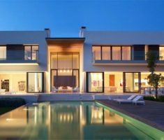 Wide Cube Box Dream House Design with Pool Front House