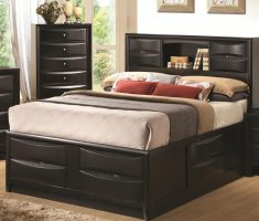 4 drawers on black wooden bed frames furnishing