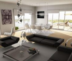 admirable modern interior design with black and grey themed colours