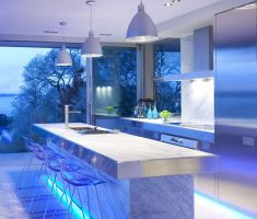 adorable kitchen lighting with white blue neon under marble table