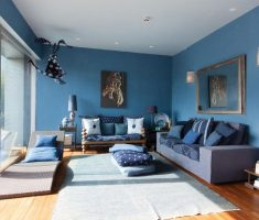 alluring blue living room with blue wall and sofa furniture