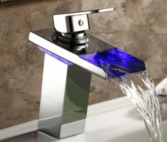 alluring led blue vessel sink faucets design