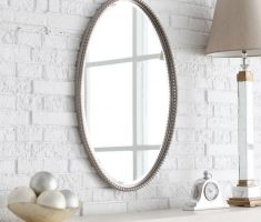 alluring oval bathroom mirrors with pearl framed