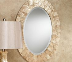 alluring oval bathroom mirrors with shell framed