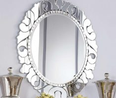 alluring oval bathroom mirrors with unique metal carving framed