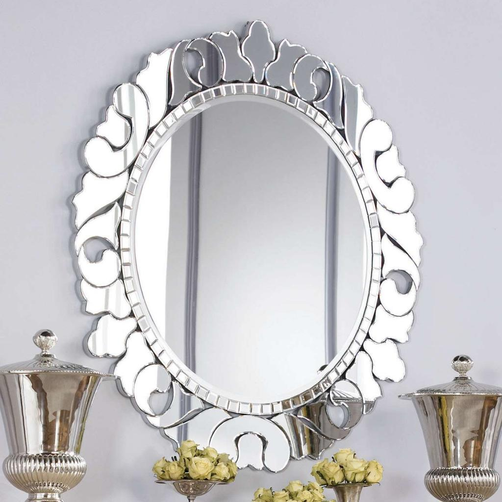 Alluring Oval Bathroom Mirrors With Unique Metal Carving Framed Home Inspiring