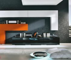amazing office modern interior design with abstrack black wall