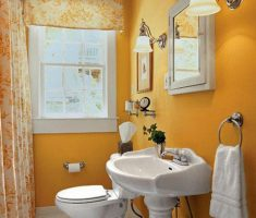 beautiful bathroom for small space with orange wall and curtain