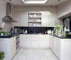 beauty u shaped kitchen with white colour themed