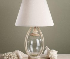 bedroom table lamps with glass materilals and white cover