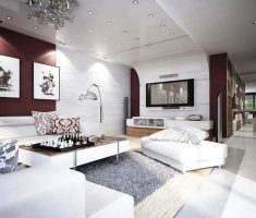 big modern apartment decorating ideas with white and maroon colours