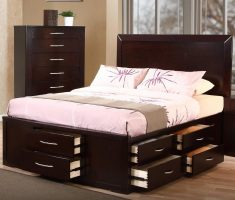 big wooden bed frames furnishing with multiple storage drawers