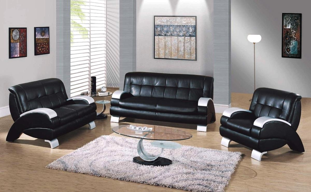 Living room with black leather furniture samuel black bonded leather living room sofa and - Black livingroom furniture ...