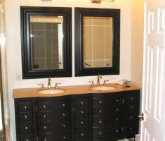 black vanity mirrors for bathroom with drawers storage and twin mirror