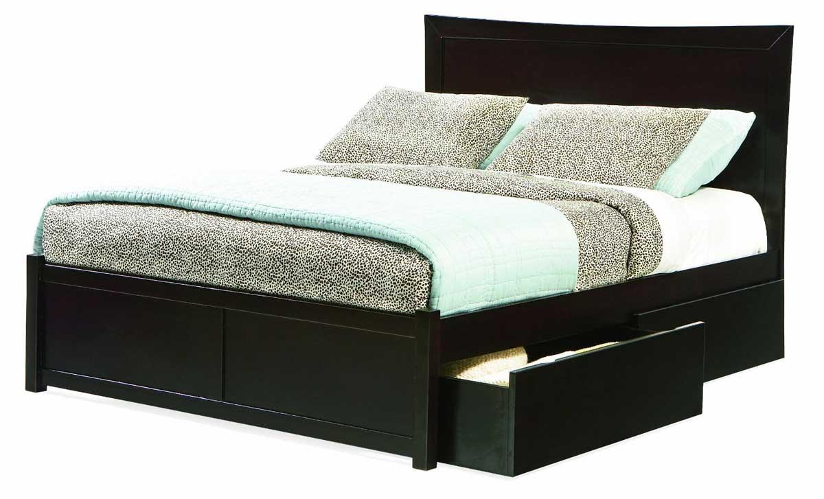 Black wooden bed frames storage home inspiring for Black wood bed frame