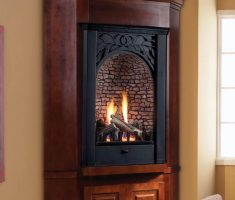 black wooden carving propane fireplaces for corner