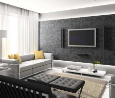 black and grey modern living room design with floral mural wallpaper