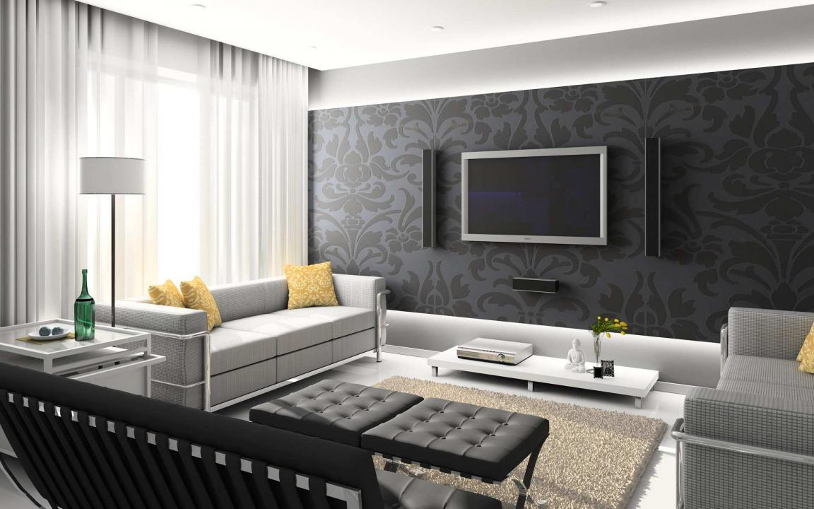 black-and-grey-modern-living-room-design-with-floral-mural-wallpaper