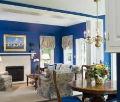 blue living room country style decor