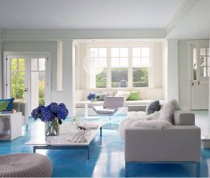 blue living room flooring with white sofa living room furniture