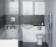 casual bathroom for small space with white and grey tiles wall