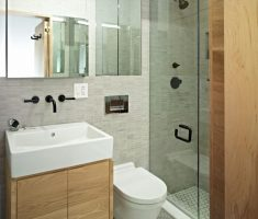 classy bathroom for small space with floating wooden sink