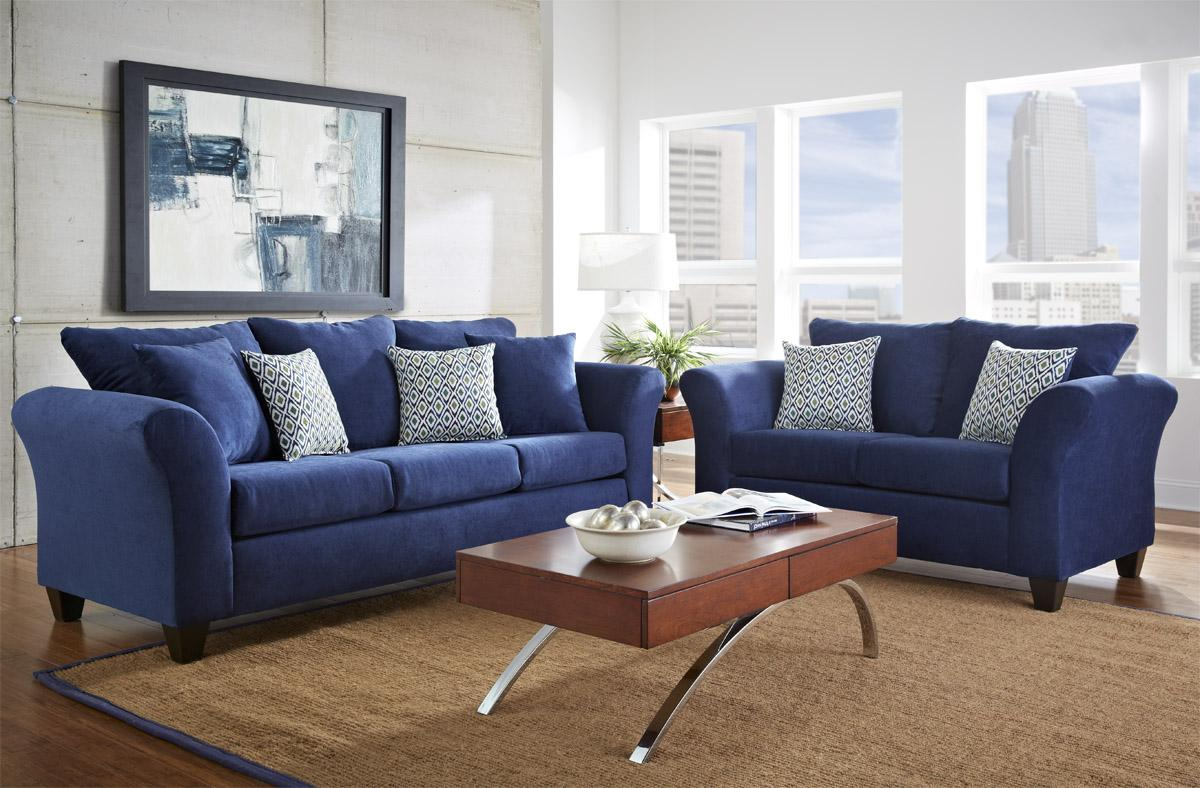 Comfortable blue sofa for blue living room furniture - Cheap comfortable living room chairs ...