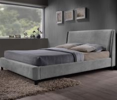 comfortable grey small double bed for small bedroom with velvet material