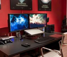 Compact Black Gaming Computer Desk Inspirations Design 2 Monitor