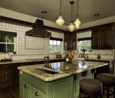 contemporary medium kitchen design with marble material and haning chandelir for kitchen lighting ideas