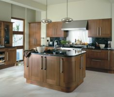 contemporary modern walnut kitchen cabinets and tables