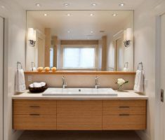 contemporary vanity mirrors for bathroom with wooden drawer and big mirror