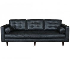 cool leather black sofa for living room with bolster