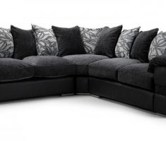 corner black sofa for living room with grey pillow