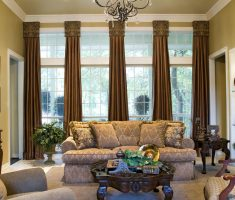 country style living room with window treatments for bay windows suit