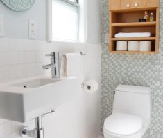 cozy bathroom for small space with wooden cabinet
