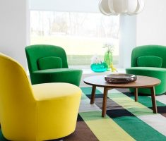 cozy green and yellow accent chairs for living room