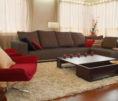 cozy living room with dark grey arm sofa and red modern accent chairs for living room