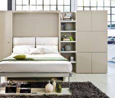 cozy white small double bed for small bedroom with cabinets