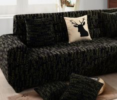 creative black sofa for living room with characters pattern