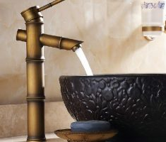 cute bamboo vessel sink faucets design idea
