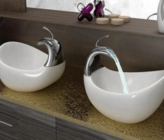 cute small vessel sink faucets design with ceramic