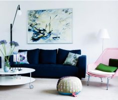 dark blue and pink accent chairs for living room