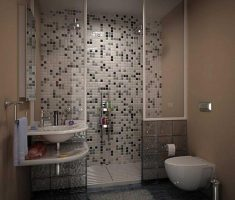 dope bathroom for small space with narrow square tiles wall